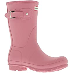 Hunter Womens Original Short Pink Synthetic Boots 5 UK