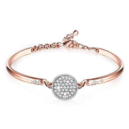 GEORGE SMITH ❤️Muttertag Geschenke❤️Nur Mädchen Rosé gold Armband Kristall von Swarovski Love Design einstellbar Frauen Schmuck Geschenke für Mama Frau Mädchen