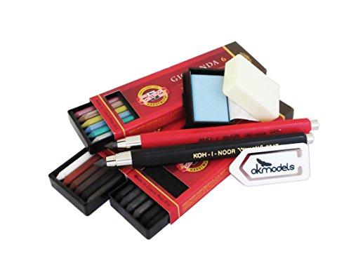 KOH-I-NOOR - Set, 2 x 5347 5,6 mm Diammeter lápiz mecánico + Gioconda 5,6 mm, juego de 6 minas para artistas 'dibujo. 4869/II + 4869/I + KOH-I-NOOR conduce de colores metálicos (conjunto de 6) + goma