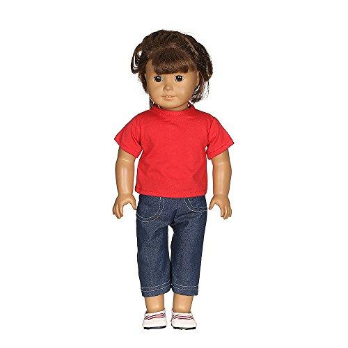 MCYs Amerikanisches Puppenzubehör, Lässige T-Shirt Jeans Hose Fit für 18 Zoll Unsere Generation American Girl Doll (American Girl Puppe Rotes T-shirt)