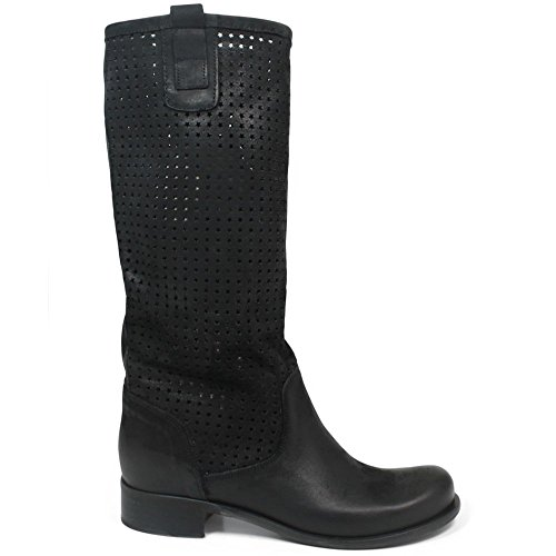 stivali-traforati-alti-estivi-biker-boots-donna-in-time-0211-nero-in-vera-pelle-made-in-italy