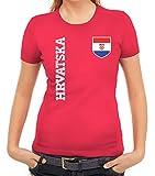 Croatia Kroatien Fußball WM Fanshirt Gruppen Damen Frauen T-Shirt Rundhals Fan Trikot Hrvatska, Größe: S,Pink