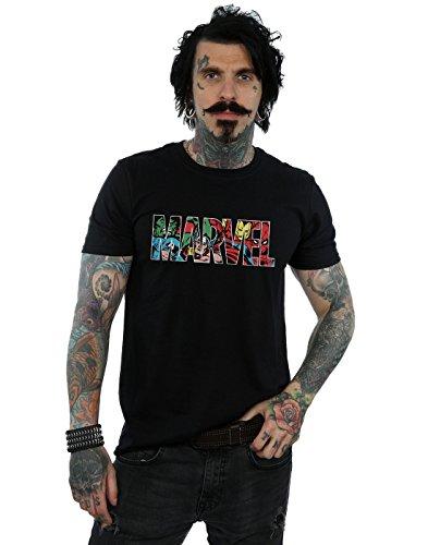 Marvel Comics Hombre Logo Character Infill Camiseta Negro Large