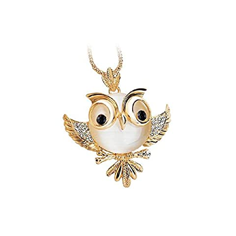HuntGold Modern Gold überzogene Eule Anhänger Lang Opal Kristall Halskette Strickjacke Kette (Opal Gold Überzogenes)