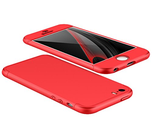 iPhone SE Coque, Wouier® 3 en1 Étui Hybride 360 Degres Intégrale Protection Antichoc Case Non Slip Très Mince en dur PC Housse Étui pour Apple iPhone 5 5s SE red