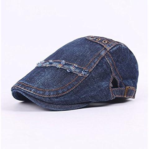 XQX-Parasole di uomini signora Outdoor Travel denim lavato semplice bianco e nero cappello cotone corto di gronda , deep blue , adjustable