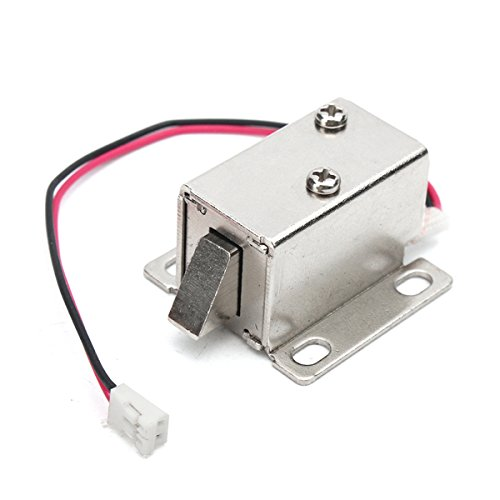 KUNSE 12V 0.34A Electronic Lock Catch Electric Release Assembly Solenoid for Door Gate Drawer 14X14Mm (Assembly Lock Door)