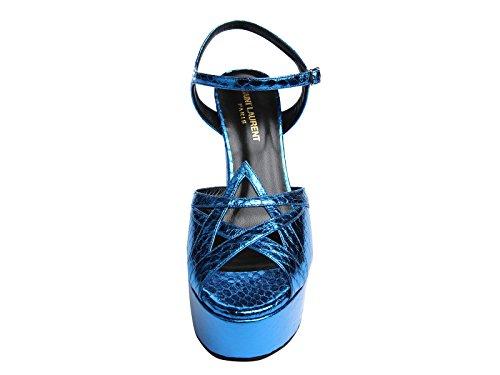 Sandales à talon Saint Laurent en elaphe Bleu intense - Code modèle: 385154 LFN00 4617 Bleu intense