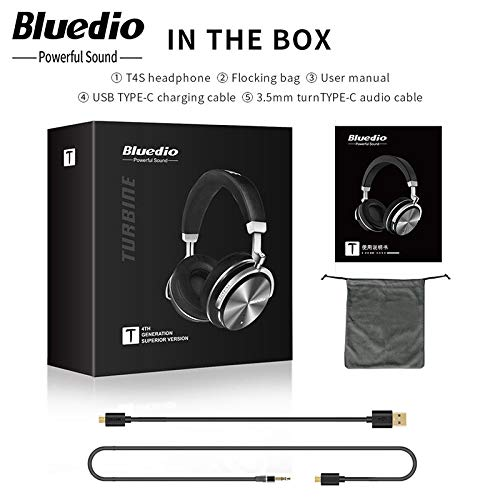 Bluedio T4S (Turbine) Active Noise Cancelling Wireless Bluetooth Headphone Headset with Microphone Black