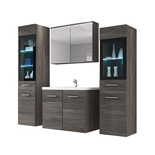 Badmöbel Set Udine II mit Waschbecken und Siphon, Modernes Badezimmer, Komplett, S...