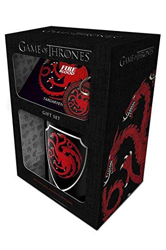 Offizielle Game of Thrones Targaryen Becher, Schlüsselanhänger und Coaster Geschenk-Set – Boxed