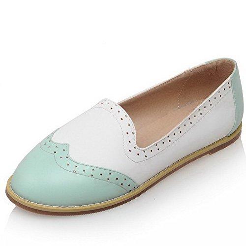 VogueZone009 Femme à Talon Bas Couleurs Mélangées Tire Matière Souple Rond Chaussures à Plat Bleu