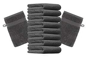 10er Pack Waschhandschuhe Waschlappen Premium Größe 16x21 cm Farbe Anthrazit Grau Kordelaufhänger 100% Baumwolle