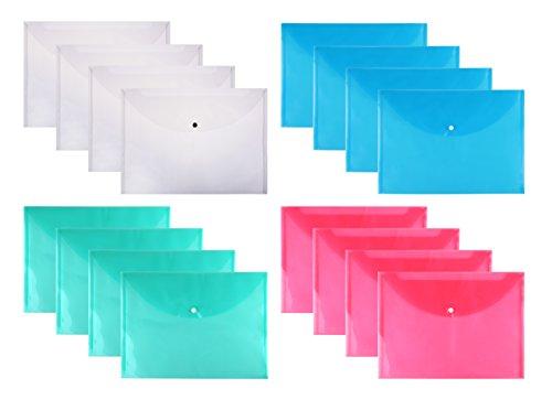 Fanaticism 16 Stück Sammelmappe DIN A4 mit Druckknopf, Dokumententasche mit Druckknopf Transparent Farblich