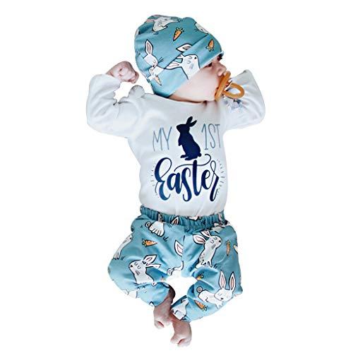 BeautyTop 0-18 Monate Babykleidung Festliches Kostüm Sommer 3 PC Neugeborenes Baby Mädchen Junge Strampler Karikatur Hase Overall Jumpsuit + Hut + Hosen Toddler Kinder Outfit-Set