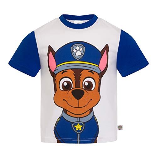 Paw Patrol - Kinder T-Shirt mit Figuren wie Rocky Chase Rubble & Skye - Offizielles Merchandise - Geschenk - Blau - 4-5Jahre