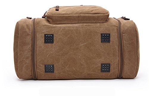WOMJIA klassisch Reisetsache Sporttasche Weekender Tasche Handgepäck aus Canvas Segeltuch Vintage 35 Liter Schwarz