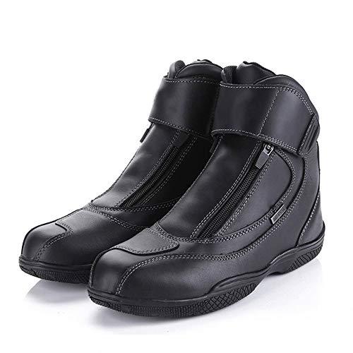 MOTUO Stivali da moto antivento impermeabili di pelle Scarpe moto turismo Scarpe Rider donne Motocross invernali uomo donna,Nero,43EU