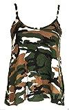 Camiseta de Tirantes para Mujer - Corte Holgado - Colores Lisos - Estampado de Camuflaje del ejército - S/M - UK 8-10/EU 36-38