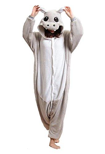 URVIP Neu Unisex Festliche Anzug Flanell Pyjamas Trickfilm Jumpsuit Tier Cartoon Fasching Halloween Kostüm Sleepsuit Party Cosplay Pyjama Schlafanzug Grau Hippo Medium (Baby Halloween-kostüme Hippo)