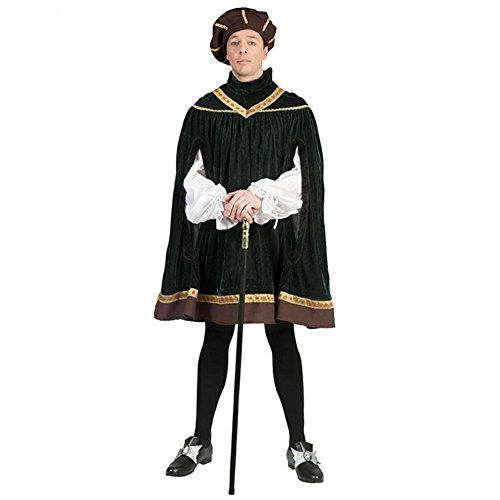 Renaissance Kostüm M/L Tunika grün Mütze Karneval Adliger Höfling Prinz ()