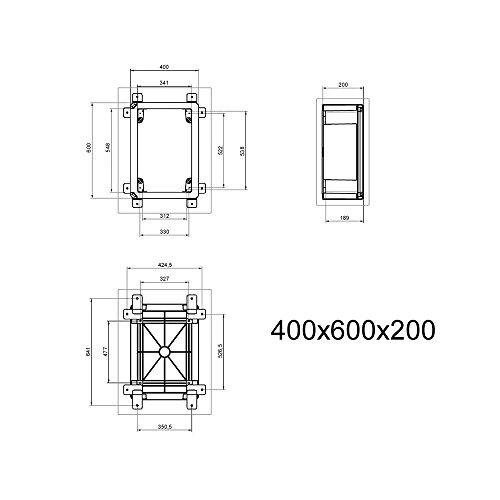 Schaltschrank 40 x 60 x 20 cm SICHTTÜR verzinkt Montageplatte ABS Kunststoff IP65 400 x 600 x 200 mm – 1134 - 4