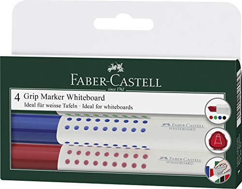 Faber-Castell 158604 - Whiteboardmarker GRIP, 4er Etui,  Inhalt: rot, blau, schwarz, grün