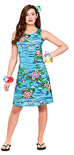 Ladies Orchid Ocean Dress Hawaiian Luau Fancy Dress Up BBQ Party Costume (Frauen Up Dress Ideen)