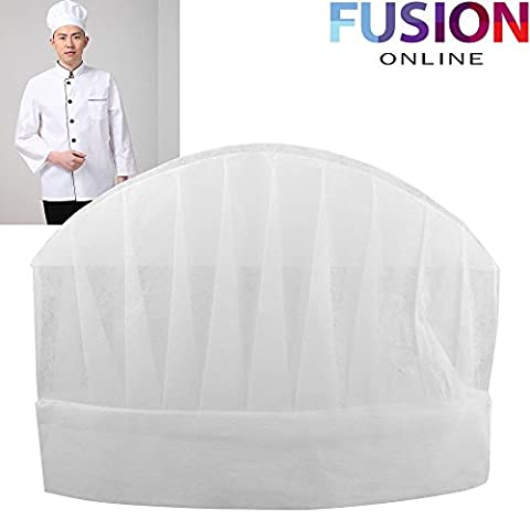 10 X CHEFS WHITE PAPER HATS DISPOSABLE PROFESSIONAL RESTAURANT HOTEL CHEF CATERING