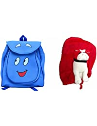 Pratham Enterprises Combo Of Blue Smile Bag And Red Bull Dog Soft Toy Bag ( Pack Of 2 )