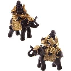 Set de 2 figuras decorativas de Buda montando en elefante, color dorado y marrón