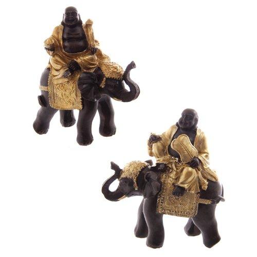 Preisvergleich Produktbild Lachender Buddha auf Elefant, gold & braun-2PACK
