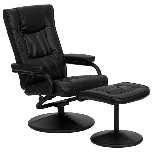 Flash Möbel modernes schwarz Leder Weich Liege/Ottoman mit verpackt Boden, Schaumstoff Polyurethan Metall Leder, schwarz, 39
