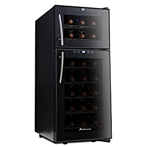 Kalamera KR-21A3JPE Streamline Dual Zone Wine Cooler,wine refrigerator for up to 21 bottles (up to 310 mm height), 7-18 ° C,Freestanding Wine fridge,black