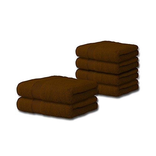 6 tlg. flauschiges Handtuch-Set viele Farben, viele Größen 100% Baumwolle Frottee Qualität ca. 500g/qm 6-teilig 4x Handtuch 50 x 100 cm 2x Duschtuch 70 x 140 cm Serie Bari CelinaTex 0002064 schoko-braun Serie 4x6