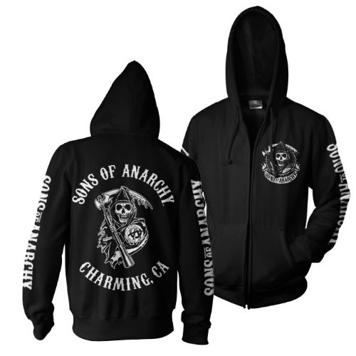 Sons of Anarchy Official Licensed Full Charming CA Backprint Zip Hoodie, S, Black