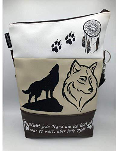 Handtasche Wolf Traumfänger Creme Tasche Foldover Schultertasche