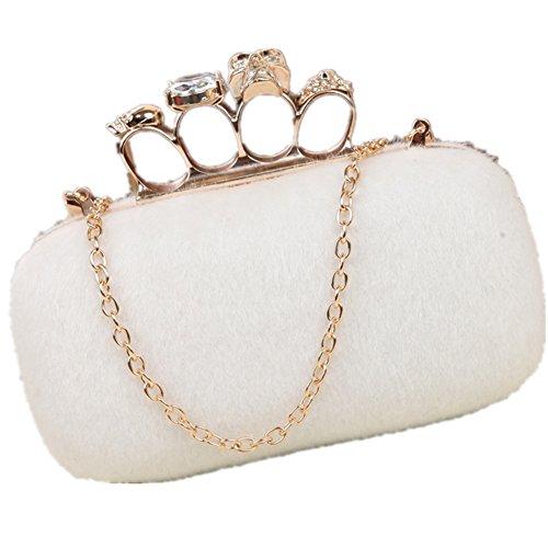 Lawevan collecte des sacs de femmes dames fausse fourrure crâne boîte cluth sacs de sacs à main d'anneau de Knuckle White