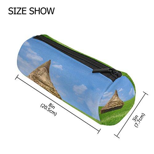 Bleistift Fall Zylinder Form Halter Grün Gras Hütte Reis Field Blau Himmel Wolken Stift Stationery Tasche Tasche mit Reißverschluss Make-up