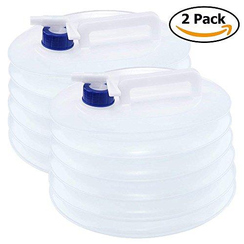 2x Faltkanister & faltbarer Camping Wasserkanister mit 5 Liter Wassertank – Outdoor Falt-Kanister, Wasserspender, Trinkwasserkanister & Wasserbehälter zur Wasser Aufbewahrung mit Zapf-Hahn, wasser kanister / behälter