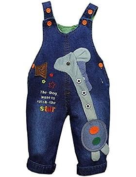 OMSLIFE Jungen Mädchen Jeanshose Latzhosen Blau Tasche Jeans Hosen Baby Kinder Overall Denim (B037)