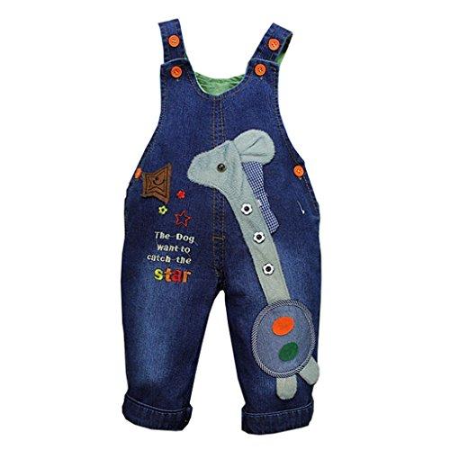 OMSLIFE 1pc Babys Kinder Jeans Latzhose Blau Bügel Overall niedlichen Tier Muster Design Overalls Kinder Latzhose blau Jeans (73-80CM, Blau)