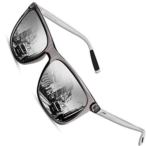 SUNMEET Gafas de sol Hombre Polarizadas Clásico Retro Gafas de sol para Hombre UV400 Protection S1001(Plateado/Plateado)
