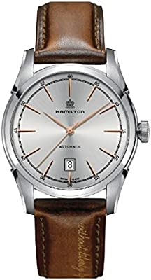 Reloj hamilton Spirit of Liberty h42415551automático acero quandrante blanco correa piel
