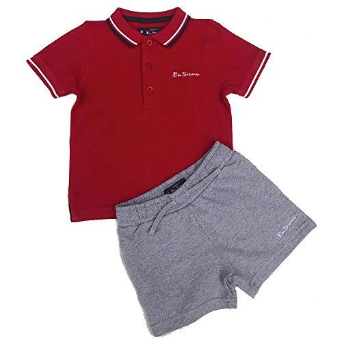 Ben Sherman Ragazzi Polo T Shirt e Pantaloncini Completo Rosso 12m/18m/24m/36m