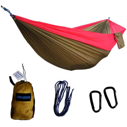 Xiyoyo Double Parachute Hamac Camping Arbre Friendly Cordes Max 299,8 Kilogram Breaking Capacité 299,7 x 200,7 cm léger mousquetons Cordes fournis Rouge/Marron