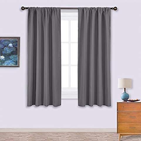 PONYDANCE Thermal Insulated Rod Pocket Blackout Curtains for Bedroom & Living Room, 42