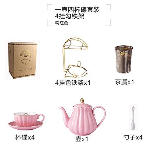 tasse 6 Sätze im Europäischen Stil Mark Schale, nachmittags Tee Tasse mit Englisch Wasserkocher Löffel, Rühren Löffel,10 Stück, Rosa ()