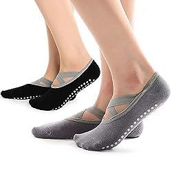 Hually Yoga Socken, 2 Packs rutschfeste Pilates Socken für Damen Grips & Straps, Ideal für Pilates, Pure Barre, Ballet, Dance (Schwarz & Grau)