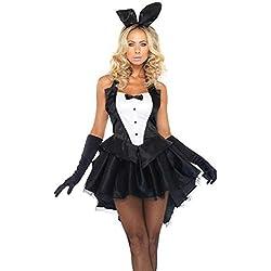 Damen Häschen Uniform Cosplay - Brawdress Halloween Kostüm für Erwachsene Karneval Clubwear Bekleidungs Schwarz